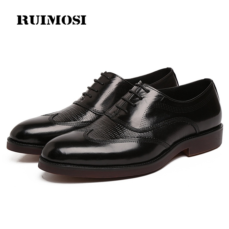RUIMOSI New Arrival Platform Wing Tip Man Dress Shoes Genuine Leather Brogue Cow Oxfords Round Toe Formal Brand Men's Flats NC37