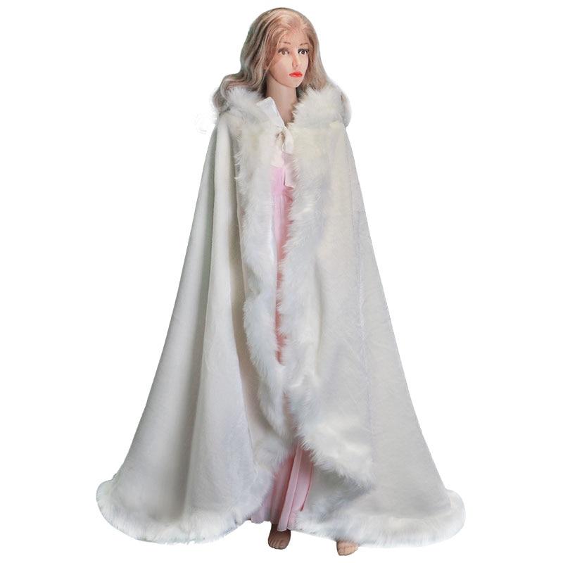 Child Floor Length Women White Faux Fur Trim Winter Christmas Bridal Cape Stunning Wedding Cloaks Hooded Long Party Wraps Jacket