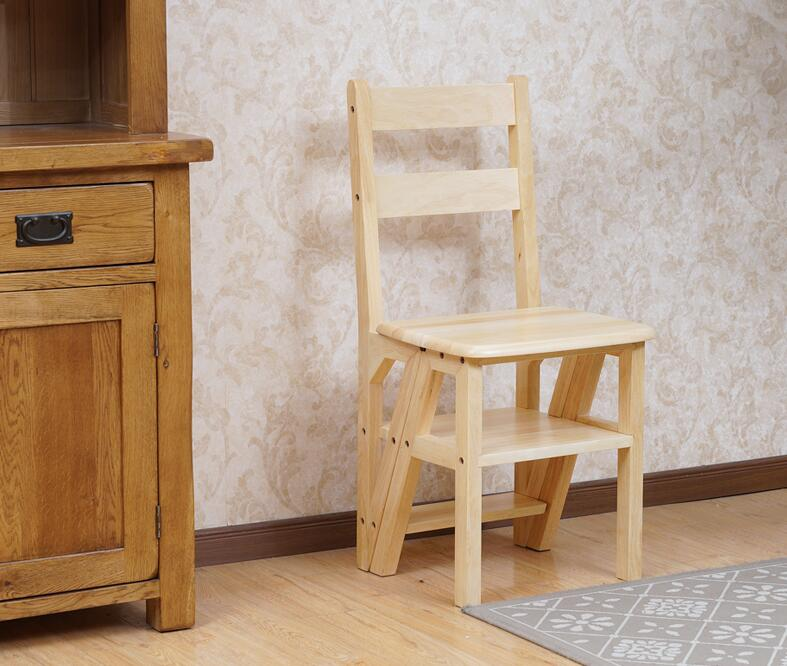 Wooden Folding Library Ladder Chair Kitchen Furniture Step