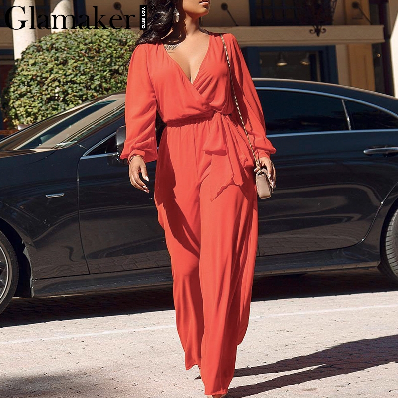 Glamaker Sexy Summer Jumpsuit Rompers Women Overalls Deep V Neck Red High Waist Long Playsuit Chiffon Elegant Jumpsuit Macacao