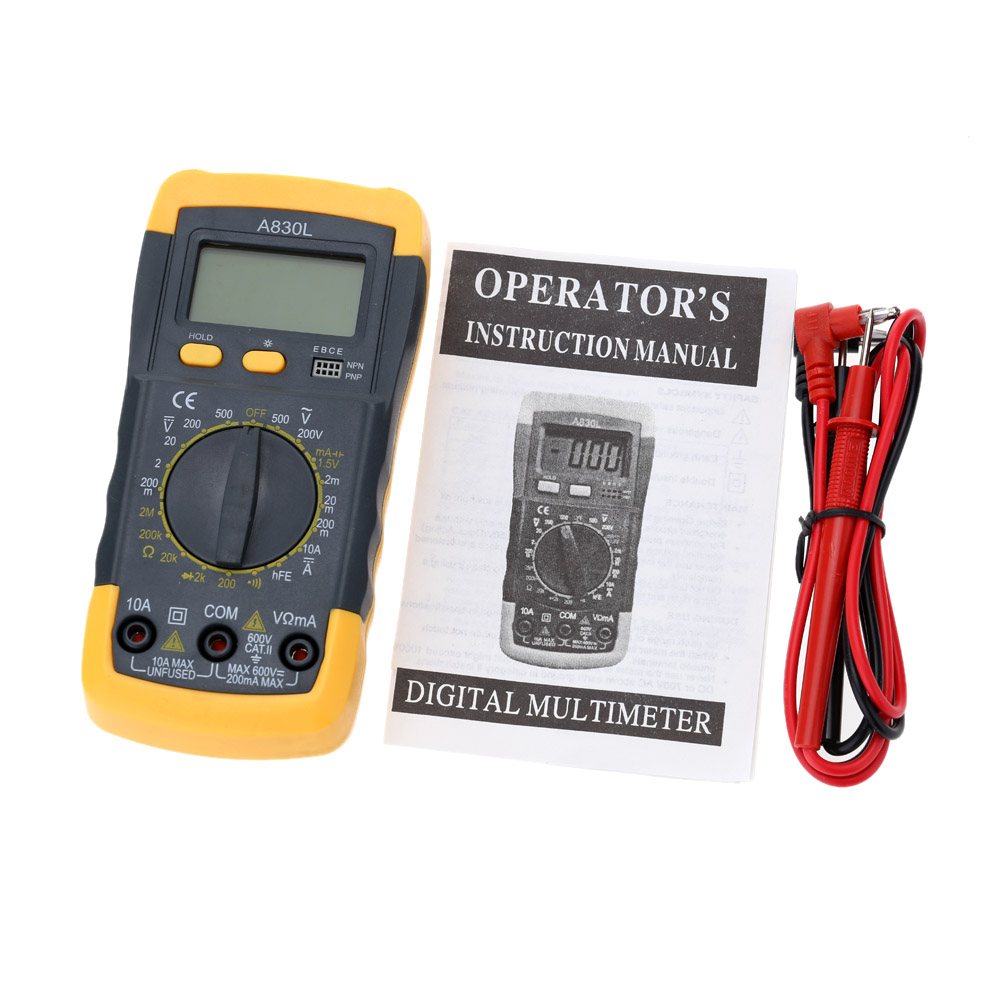 Detail Feedback Questions About Backlight Black Yellow A830l Lcd Digital Multimeter Circuit Tester Multitester Voltmeter Dc Ac Voltage Diode Freguency Free Shipping On