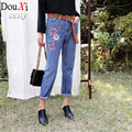New fashion women jeans pants spring embroidery flower casual denim pants high waist pattern jeans female size 26-30