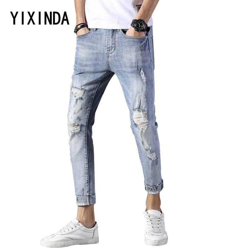 YIXINDA Brand New mens jeans for summer 2018. Stretch comfortable hole Korean version 9 minute jeans. trousers