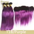1B/Purple Ombre Hair Weaves With 13x4 Lace Frontal Ombre Brazilian Hair Extension 8A Brazilian Ombre Hair 3 Bundles Purple Weave