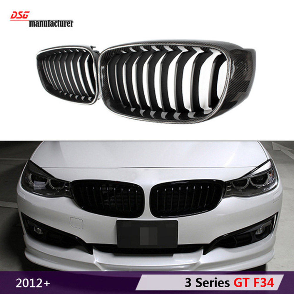 3 series gran turismo GT F34 carbon fiber abs kidney bumper grill hood grille for bmw