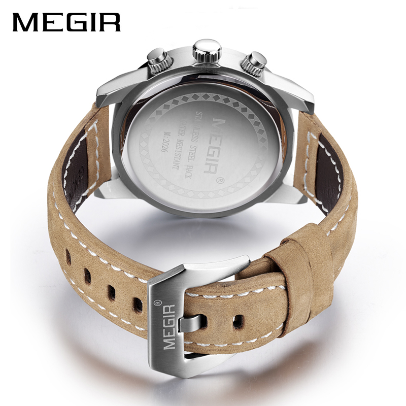 Image 2 - MEGIR Fashion Sport Watch Men Luxury Brand Men Quartz Watches Chronogragph Clock Leather Band Army Military Wrist Watch 2026watch brandwatch fwatch fashion -