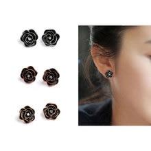 New Big Brand Camellia Earring Korean Rose Rhinestone Stud Earrings Black Luxury Woman Jewelry Party Gift