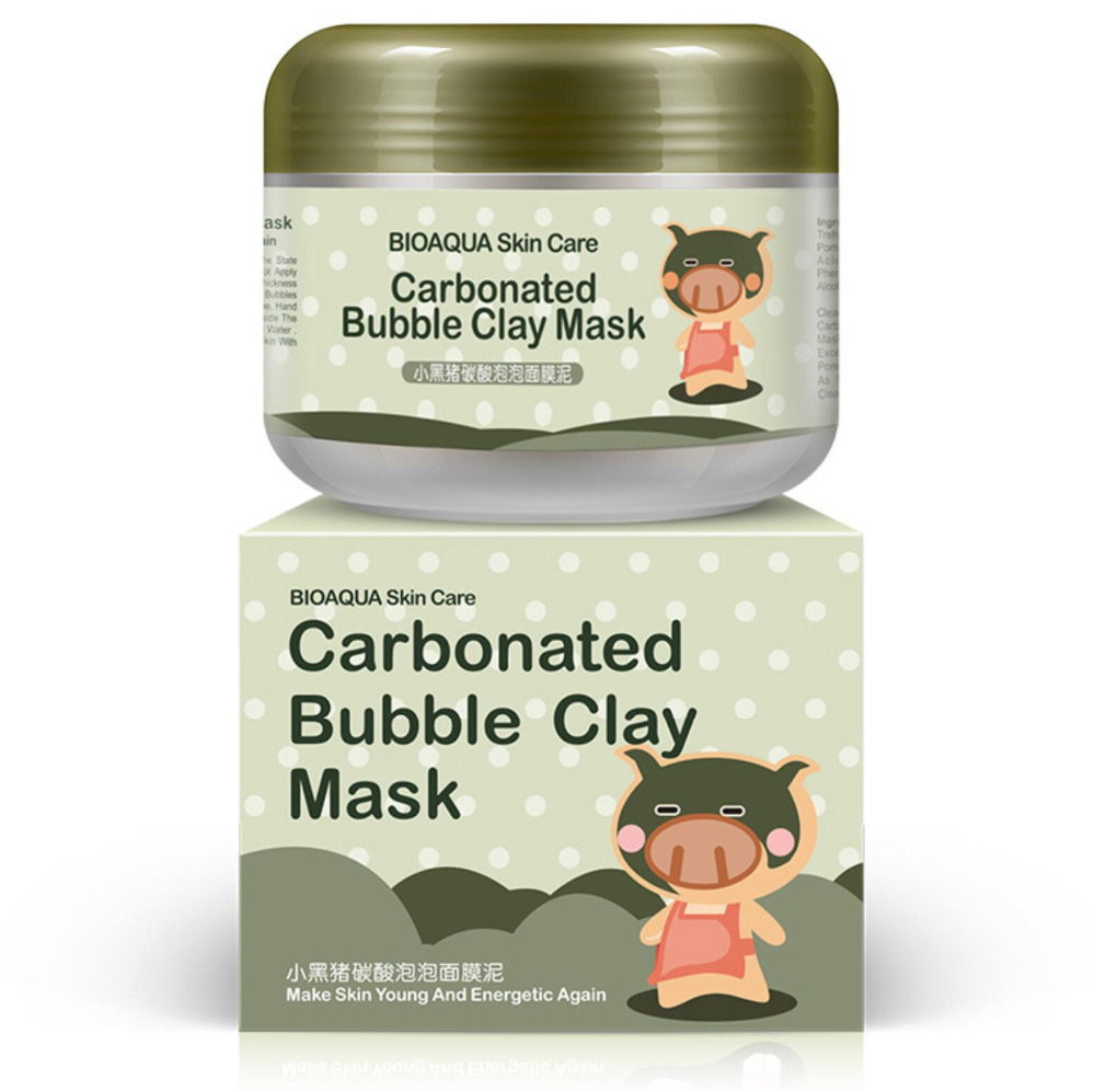 BIOAQUA Skin care Carbonate bubble clay facial mask Deep cleansing Moisturizing Shrink pores sleep face mask 100g american aztec aztec indian treatment clay 1 pounds natural god clay mask to clean pores 454g