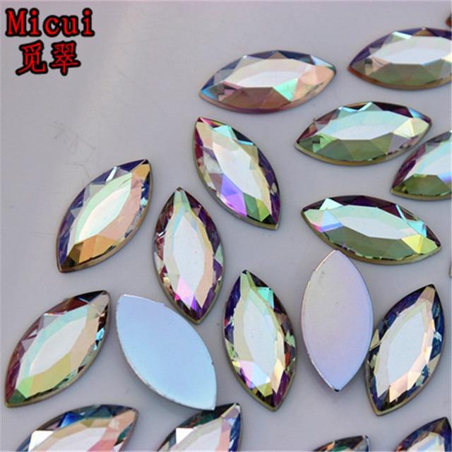 706485d05cc4 Micui 50PCS 12 25mm Crystal AB Rhinestones FlatBack Acrylic Horse Eye Gems  Fancy Strass Crystals Stones For Clothing Craft ZZ320