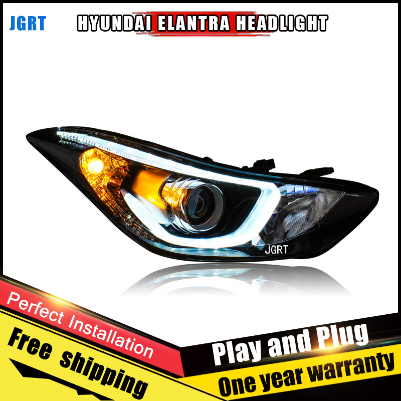 Car Style LED headlights for Hyundai Elantra 2012-2015 for Elantra head lamp LED DRL Lens Double Beam H7 HID Xenon bi xenon lens hireno headlamp for 2004 10 hyundai elantra headlight headlight assembly led drl angel lens double beam hid xenon 2pcs