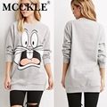 MCCKLE  women hoodies tops Gray Bugs Bunny Print Long Sleeve Loose Sweatershirt casual clothing pullovers