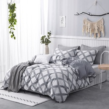 PHF Cotton Duvet Cover Set Jacquard Clipped Textured Yarn Dyed Stripes Breathable Bedding 3 Pcs King Queen Size Blue Greyish