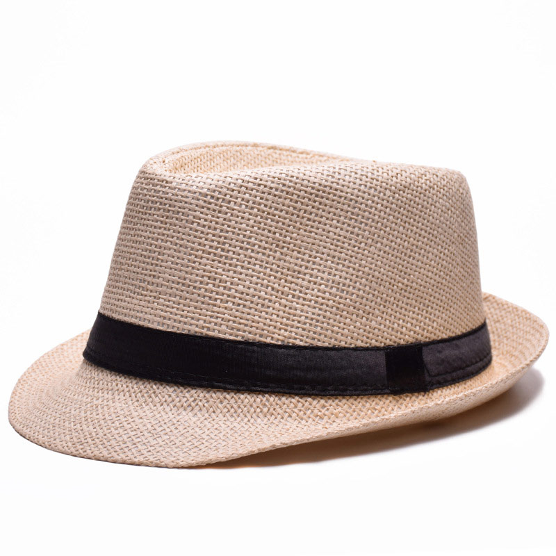 c6e50158461 summer men women's eyelet straw jazz fedora hat beach top ribbon cap beige  brown khaki white black blue-in Fedoras from Apparel Accessories on ...
