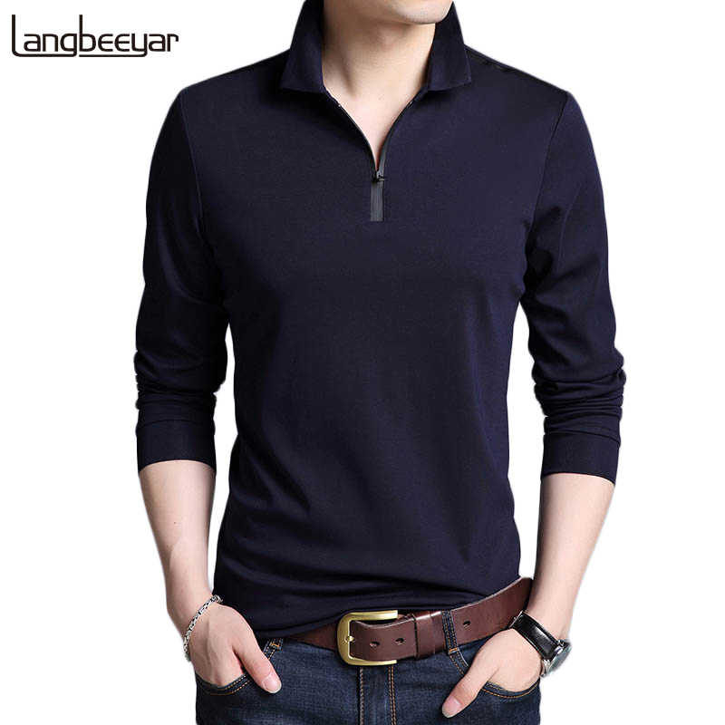 2019 New Fashion Brands Designer Polo Shirt Men Cotton Boys Street Style Long Sleeve Slim Fit Korean   Polos Casual Men Clothes