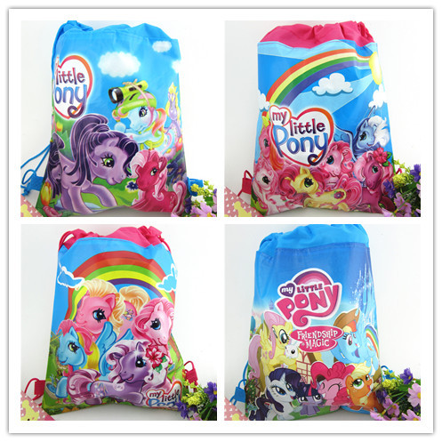 2 Pcs My Little Pony Sided Non-woven Drawstring Small Ma Baoli Trade Drawstring Bags Children Shoulder Bags Pencil Bags