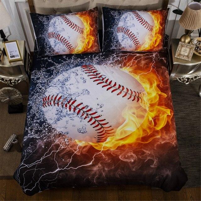 3d oil painting ice fire baseball bedding set black background duvet cover for boys cool - Baseball Bedding