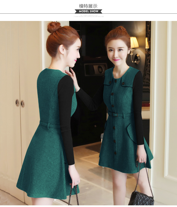 winter new round collar single-breasted cloth dress belt buttons A word women dresses Korean fashion outfit lady vogue vestido 18