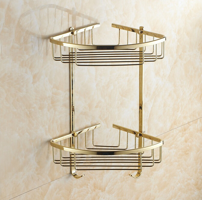 Wall Mounted Gold Copper Bathroom Soap Basket Bathroom Corner Shelf ...