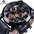 Механические часы Forsining  часы из натуральной кожи с модным дисплеем «год и месяц»  роскошные армейские Автоматические наручные часы