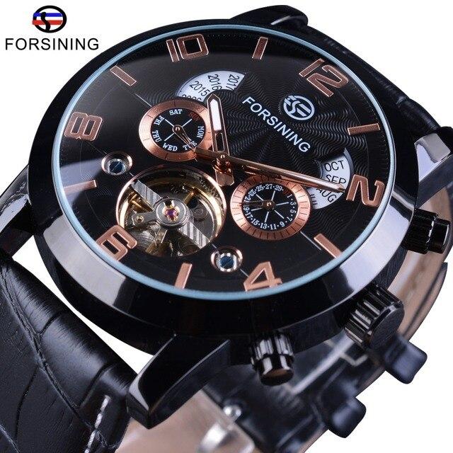 Forsining Asli Kulit Tahun Bulan Mode Tampilan Tourbillon Mekanik Menonton  Atas Merek Mewah Militer Automatic Wrist 8123677229