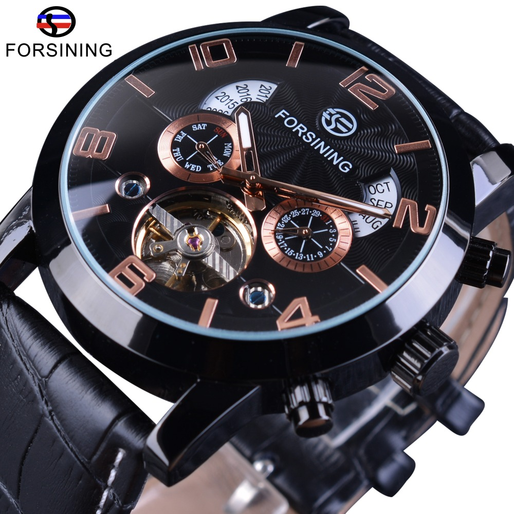 Forsining Genuine Leather Year Month Fashion Display Tourbillon Mechanical Watch Top Brand Luxury Military Automatic Wrist Watch forsining a165 men tourbillon automatic mechanical watch leather strap date week month year display