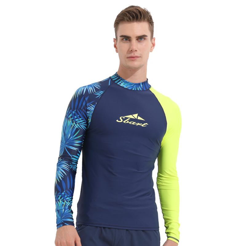 Men/'s Long Sleeve Swimsuit Rash Guard UV Protection Surfing Bathing Tops UPF 50+