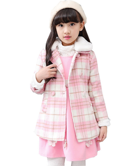 Kids winter thickening suit 2016 wool plaid children's woolen coat two-piece jacket + skirt girl clothes