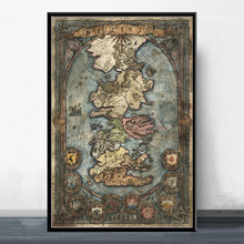 Game of Thrones Map Pictures Art Poster Canvas Painting Wall Picture Home Decor Posters and Prints(China)