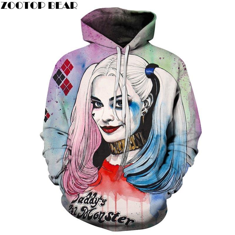 Harlley Quinn Hoodies 3D Hoodies Hommes Sweatshirts Film Drôle Pull À Capuche Survêtements De Mode Nouveauté Joker Imprimé Homme Manteaux