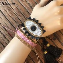 Rttooas Fashion Women Jewelry Bracelet Accessories Boho MIYUKI Beads Handmade Evil Eye Summer Girls Gift