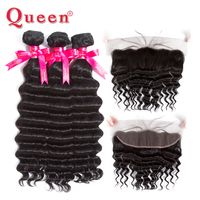 Queen Hair Products Brazilian Hair Loose Deep 3 or 4 Bundles With Frontal Closure 100% Remy More Wave Frontal With Bundles Hair