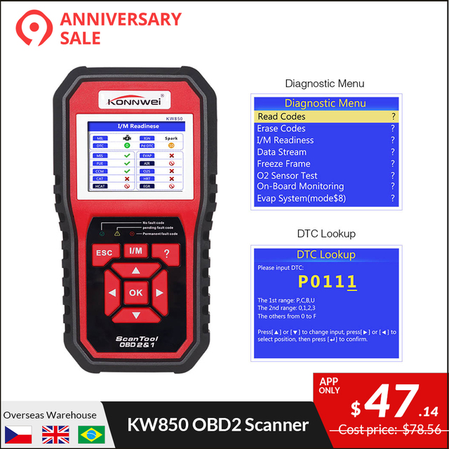 Us 54 99 30 Off Konnwei Kw850 Full Obd2 Car Diagnostics Tool Kw 850 Obdii Auto Scanner Pk Ad310 Nt301 Update Free On Pc With Ru Uk Us Warehouse In