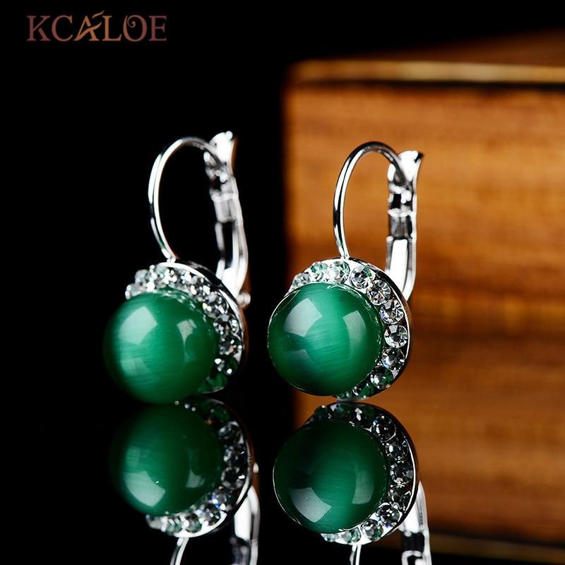 KCALOE טרנדי ירוק עגילים לנשים טבעי אופל אבן קריסטל מעוקב Zirconia עגילי Brinco Pedra ורדה Aretes דה Mujer