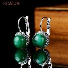 51771a072e3b KCALOE Verde De moda pendientes para las mujeres Natural Opal piedra  cristal cúbicos Zirconia pendientes Pedra Verde Aretes De M..