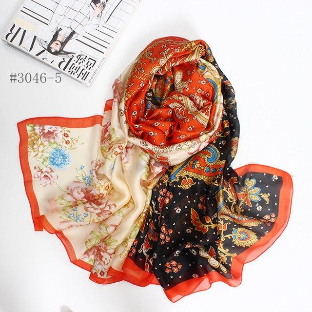 Мода длинный шарф женщины листья печати шелковые шарфы новый 2016 Осень и Зима девушки шаль echarpe