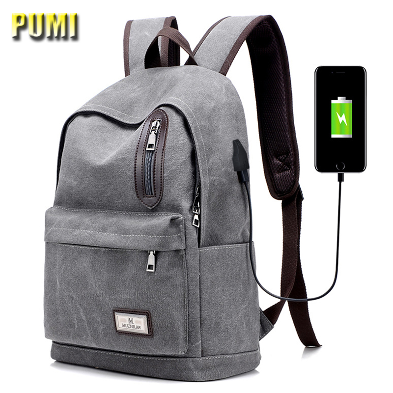External USB Charge Canvas Student Backpack 13 14 15 Notebook Computer Backpack for Teenager Men Women Daily School Bag Rucksack dy0606 ladies bag 15inch women backpack suit for 14 15 notebook laptop bag student school bag travel mountaineering bag