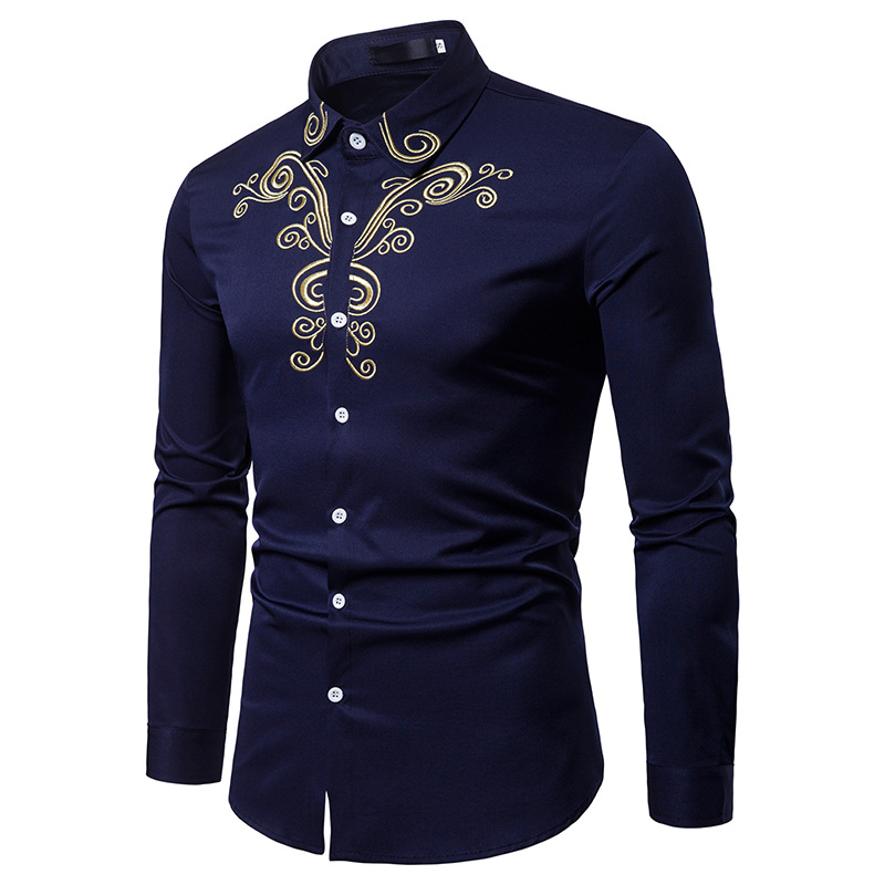 2018 Fashion Men Shirt Long Sleeves Tops Embroidery Cotton Shirt Men Hawaiian Dress Shirts Slim Men Shirt Plus Size White Black