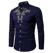 2018 Fashion Men Shirt Long Sleeves Tops Embroidery Cotton Shirt