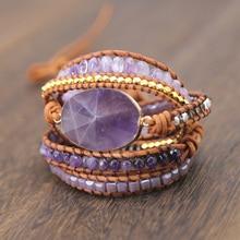 Drop shipping Natural Stones Crystal Quartz Charm  5  Strands Wrap Bracelets Handmade Boho Bracelet Women Leather Bracelet