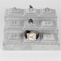 26*24 Gray Velvet Jewelry Display Tray With 3 Layers For Ring Earring Pendant Watch Stand Holder Show Case New Arrival