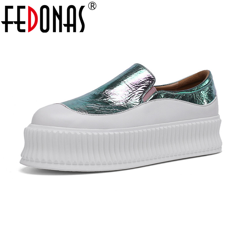FEDONAS Women Sneakers Fashion Solid Genuine Leather Shoes Spring Summer Party Office Casual Shoes Woman Basic Platforms Flats
