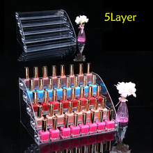 Fashion Clear 5 Layers Nail Polish Rack Varnish Display Makeup Storage Shelf Cosmetic Organizer Household Storage Container 1 pcs 6 tiers removable nail polish shelf acrylic clear cosmetic varnish display stand rack holder women makeup organizer case
