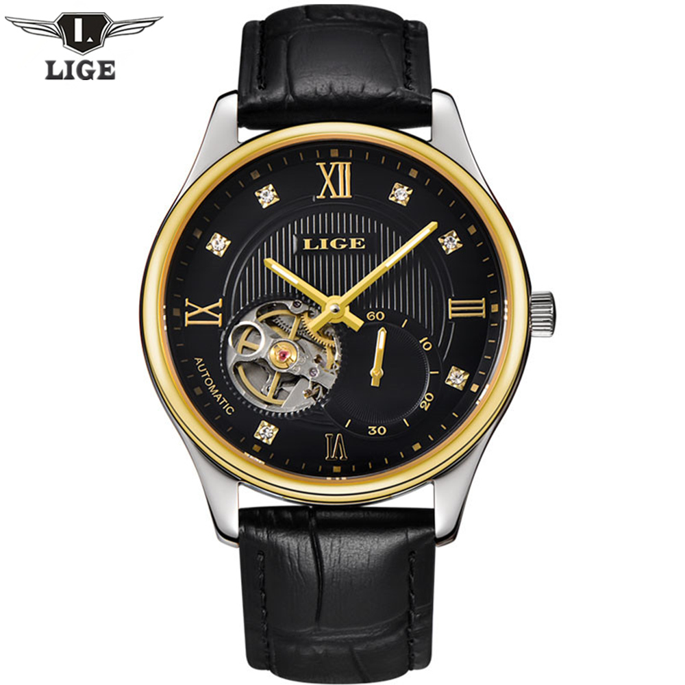 ФОТО 2016 Relogio Masculino LIGE brand Men's Watches Luxury business Automatic Watch Man Classic Hollow Clock Leather Wrist watches