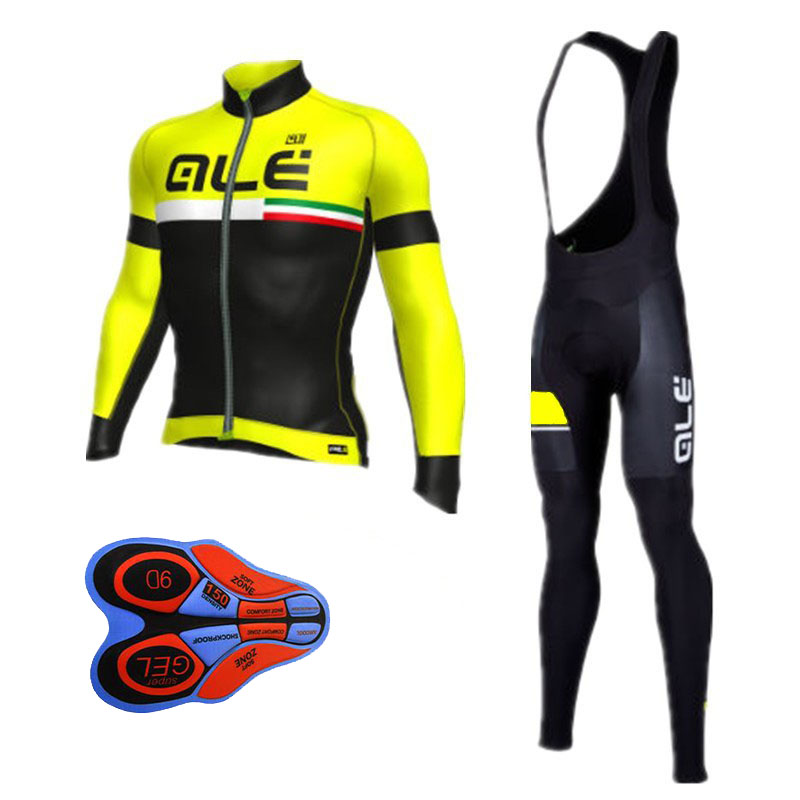 Winter Thermal Cycling Clothing 2017 Men Fleece Jersey Bike Bicycle Suits Cycling Kit Green Yellow Red