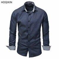 2018 HOQIXIN Высококачественная брендовая одежда Для мужчин горошек рубашка с длинными рукавами Мужская одежда брендовая Повседневное деним Ст...