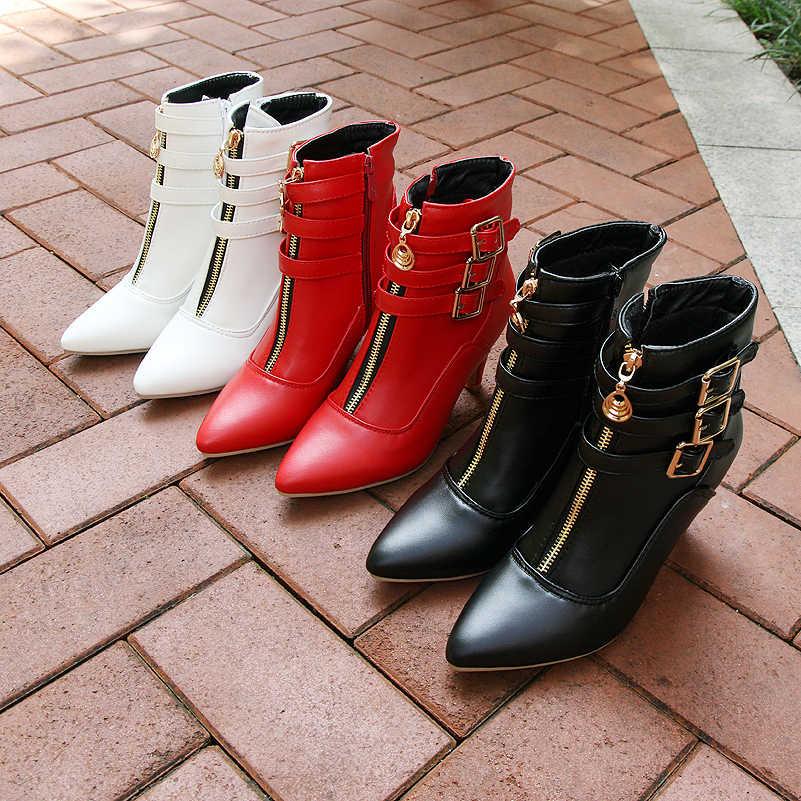 Meotina Ayakkabı Kadın Çizmeler Sonbahar Yüksek Topuklu yarım çizmeler Sivri Burun Toka Bayan Botları Zip Bayanlar Ayakkabı Beyaz Büyük Boy 44 45 11
