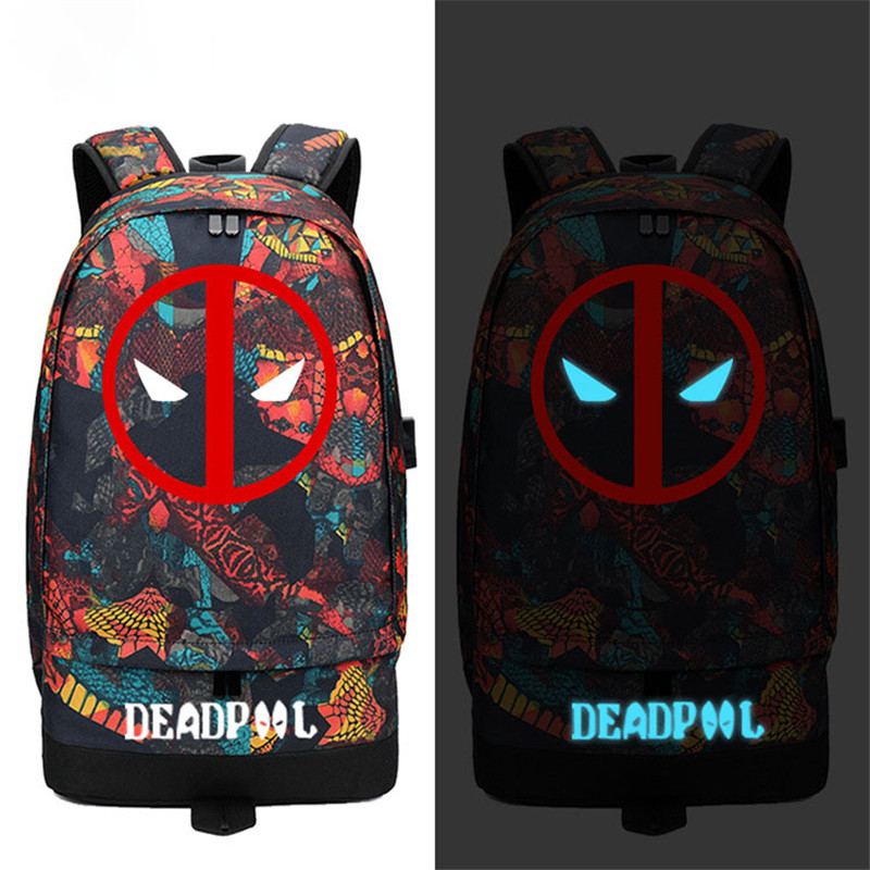 Deadpool Dead Pool Comic Hero Backpack Snake Pattern USB Port Rucksack Bag Student School Shoulder Bag For 14 Inch Laptop