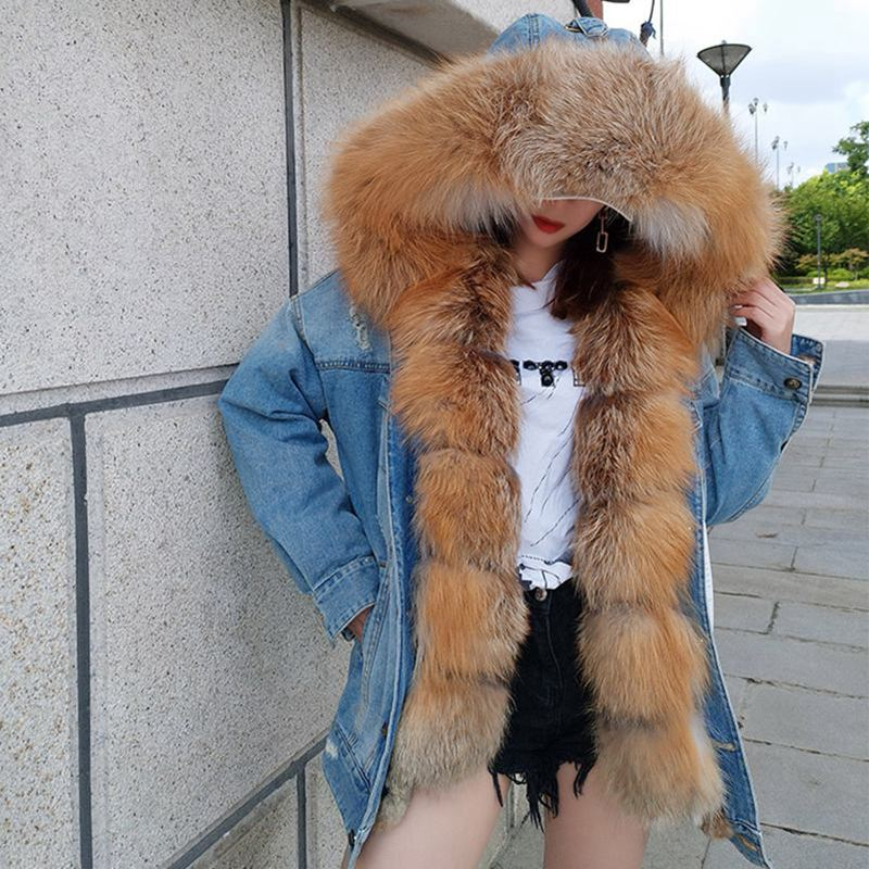 Femmes Parka color 1 Amovible 4 Fox 3 Vestes Capuchon De Casual Nouveaux Manteau Jeans Color Épais D'hiver Denim Réel Long Veste color Fourrure color Femelle Doublure 7 color 5 color 2 6 color À Parkas gqBvwE