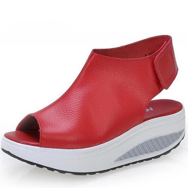 Sólido Balanço Plataforma Cunhas das Mulheres Sandálias Senhora Sapatos de Plataforma de Couro Genuíno Sandálias de Verão/Vermelho/Preto/Marrom