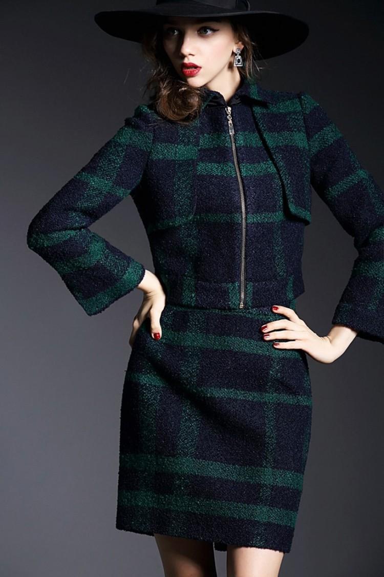 Runway Style High Grade Grid Pattern Woolen Green Skirt Suits Autumn Winter 2015 (12)